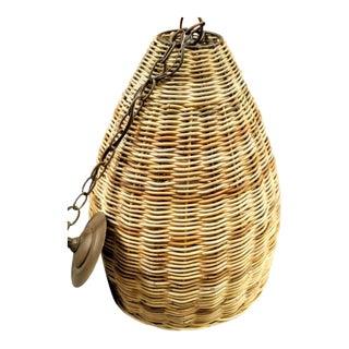 Currey & Company Basket Weave Rattan Dome Shaped 1 Light Chandelier Light Fixture For Sale