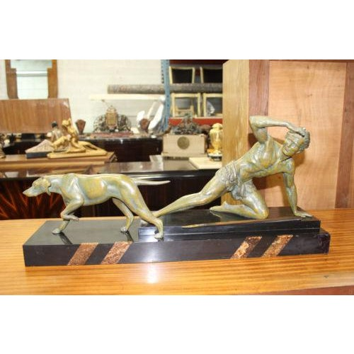 French Art Deco Patinated Metal Sculpture of Man With Dog by Jean De Roncourt - Image 2 of 8