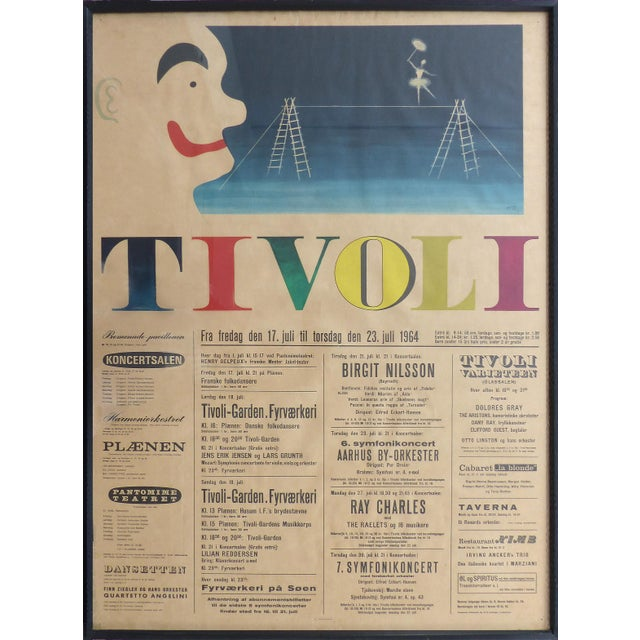 1964 Concert Poster From the Tivoli Gardens in Copenhagen, Denmark For Sale - Image 9 of 9