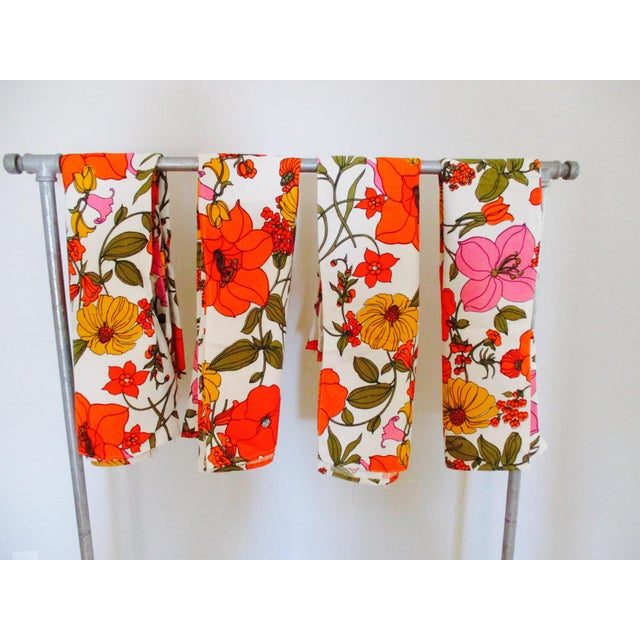 Vintage Swedish Flower Wall Panels Curtains Textile - Set of 4 - Image 4 of 10