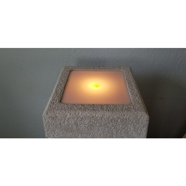 Vintage Postmodern Plastered Wood Illuminated Pedestals. - a Pair For Sale In Miami - Image 6 of 13