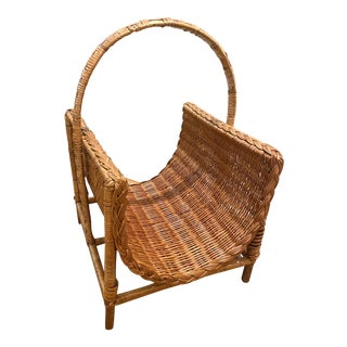 1970's Era Wicker and Wood Gathering Basket or Magazine Rack For Sale