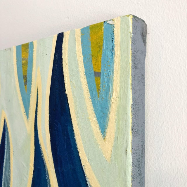Canvas 1980s Abstract Multi Blue Colored Oil on Canvas Painting For Sale - Image 7 of 10