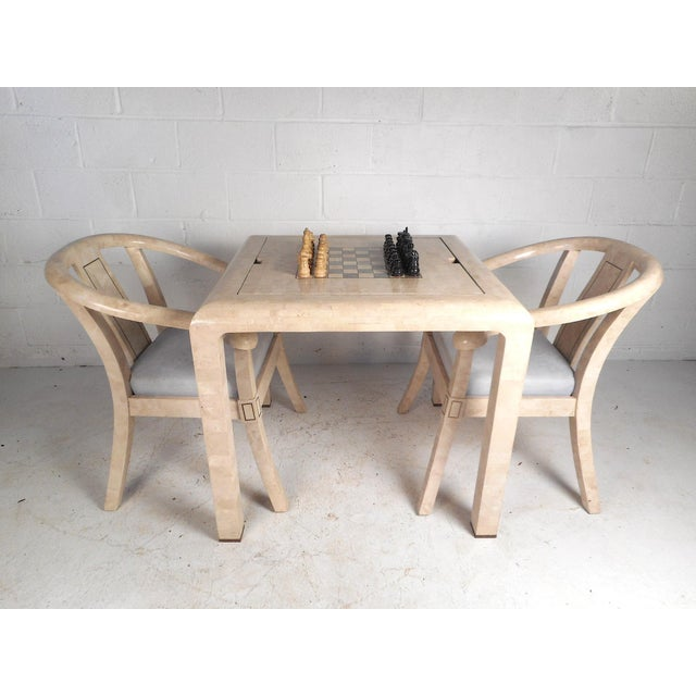 Mid-Century Maitland Smith Tessellated Stone Game Table With Two Chairs For Sale - Image 13 of 13