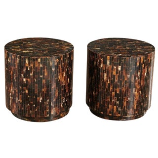 A Pair of Tesselated Horn Drum Tables by Enrique Garcel, Columbia 1970's For Sale