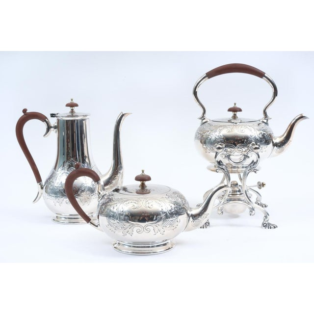 Metal English Silver Plate With Wood Handle Five-Piece Tea or Coffee Service For Sale - Image 7 of 10