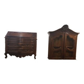 Antique Guido Zichele of Mussolente Maple & Walnut Secretary Desk With Top Cabinet For Sale