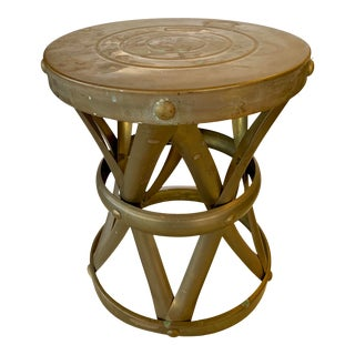 1960s Vintage Round Brass Drum Stool Table For Sale