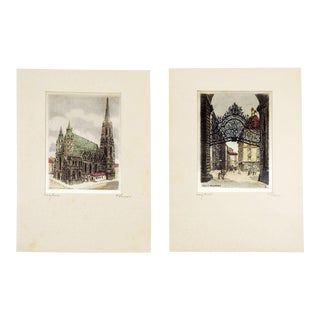 Continental Etching Prints on Silk - a Pair For Sale