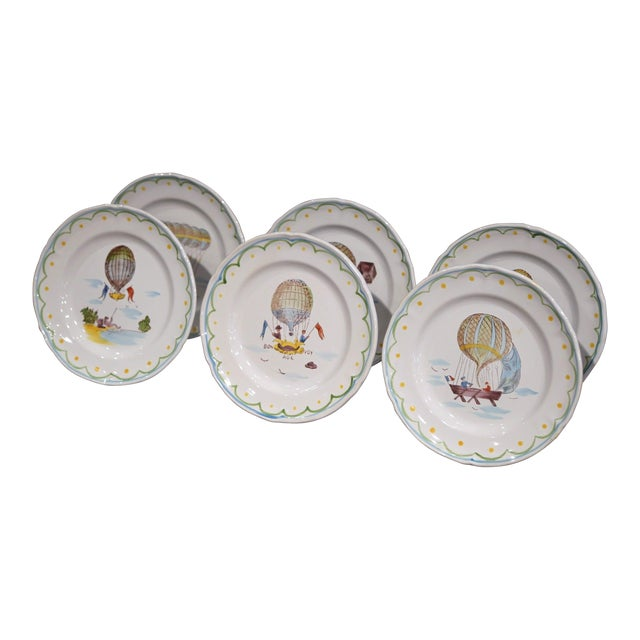 Set of Six French Hand-Painted Ceramic Hot Air Balloon Plates From Brittany For Sale
