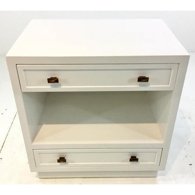 Stylish Worlds Away modern white lacquered warren two drawer nightstand/Side table, unique bronze hardware, showroom floor...