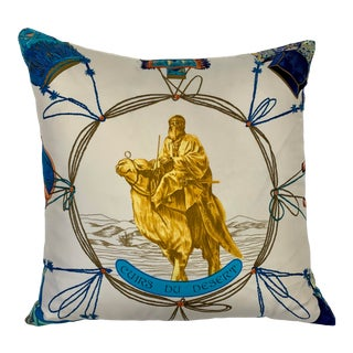 "Hermes Silk Scarf ""Cuirs Du Desert"" Ivory Custom Pillow For Sale"