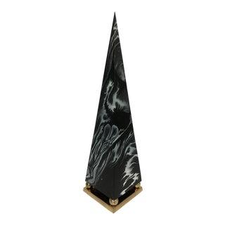 Marbled Brass Pyramid Sculpture