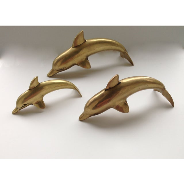 Family of Brass Dolphins - Set of 3 - Image 2 of 5
