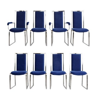 Set of Eight Modern Chrome Dining Chairs For Sale
