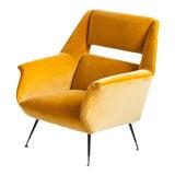 Image of Gigi Radice for Minotti Yellow Velvet Lounge Chair For Sale