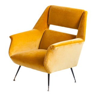 Gigi Radice for Minotti Yellow Velvet Lounge Chair For Sale