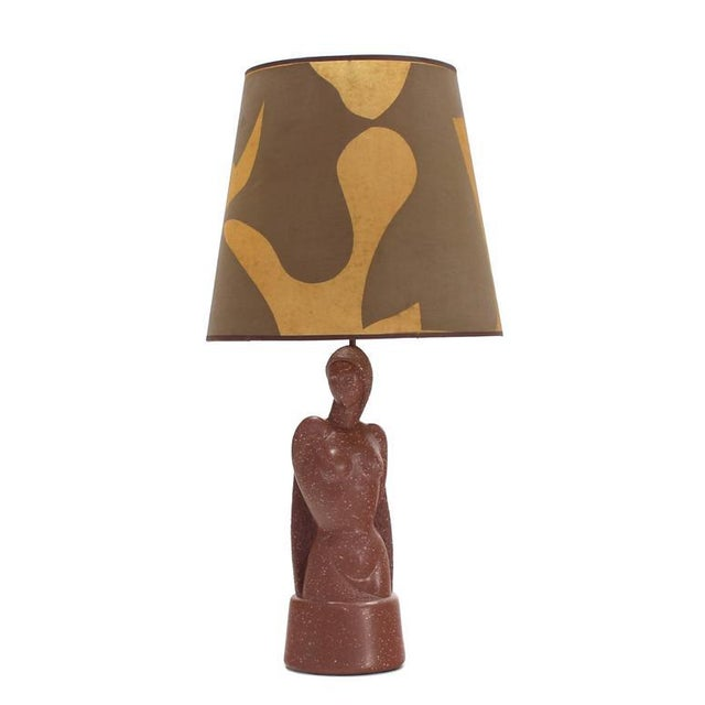 Brown Signed Nude Sculpture Table Lamp For Sale - Image 8 of 8