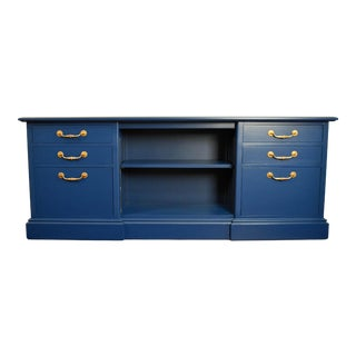 Navy Blue and Gold Credenza / File Cabinet/ Tv Stand For Sale