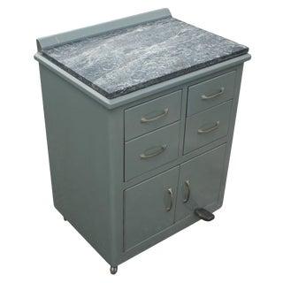 Vintage Industrial Metal Marble Cabinet For Sale