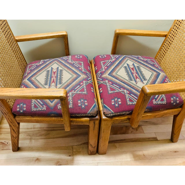 Wood Mid-Century Lou Hodges Style Tall Cane Back Chairs- A Pair For Sale - Image 7 of 9