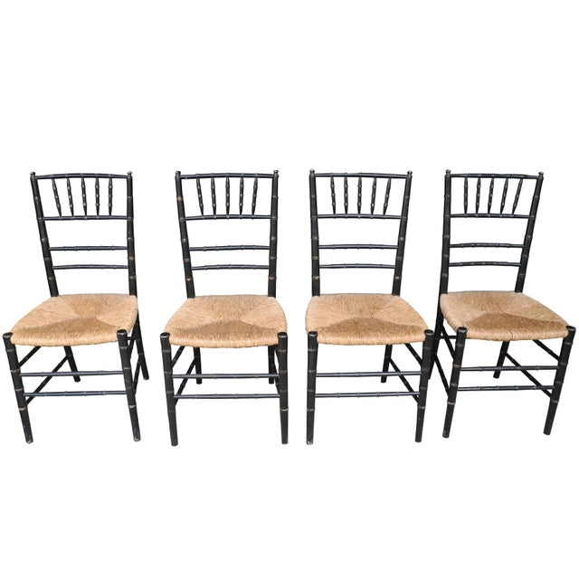 Wood Set of Four Faux Bamboo Wood and Rush Decorative Chairs For Sale - Image 7 of 7