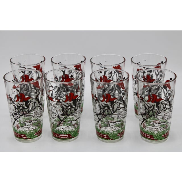 1950s English Fox Hunt High Ball Drinking Glasses - Set of Eight For Sale - Image 4 of 13