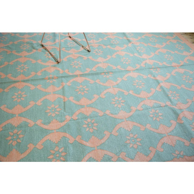 "New Blue Floral Dhurrie Carpet - 8'1"" X 9'9"" - Image 6 of 7"