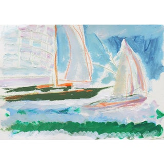 'Sailing Boats Off Monterey' by Robert Canete, California Expressionist, Stanford, Carmel For Sale