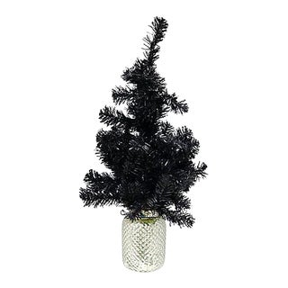 Vintage Black Christmas Tree in Mercury Glass Pot For Sale