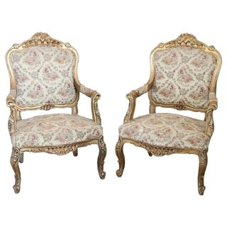 20th Century Italian Baroque Style Gilded Wood Pair of Armchairs For Sale