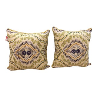 South Western Style Embroidered Pillows - A Pair For Sale