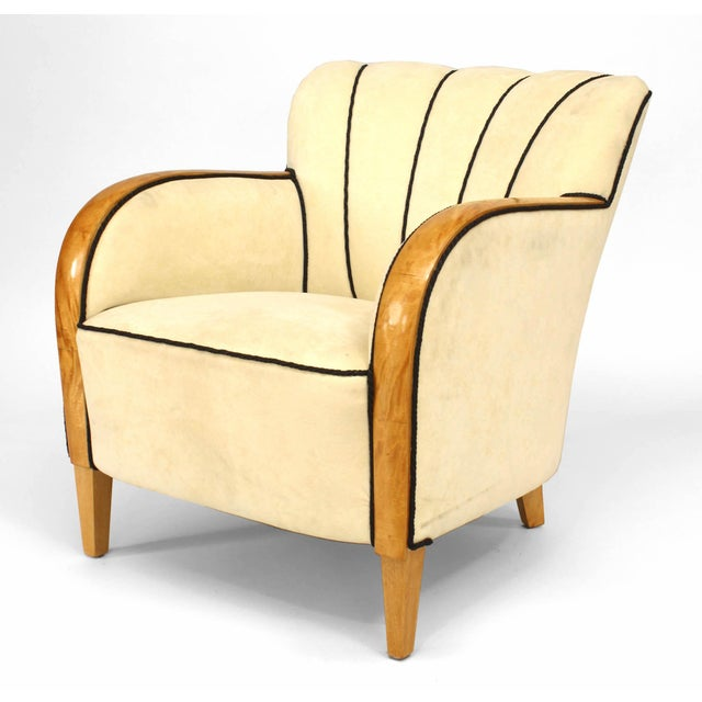 Swedish Biedermeier (20th Cent) maple framed club chair with flair design back and white upholstery with black piping.