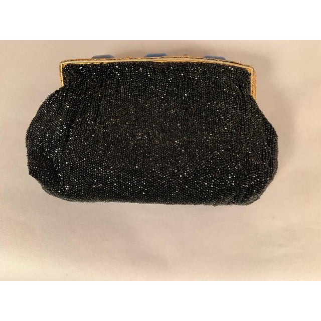 French Caviar Beaded Black Evening Bag With Lapis Lazuli and Gold Toned Wirework Frame For Sale - Image 9 of 10