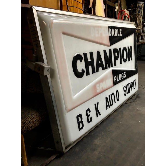 Black Vintage Everbrite Industrial Metal-Framed Double-Sided Champion Auto Supply Service Sign For Sale - Image 8 of 10