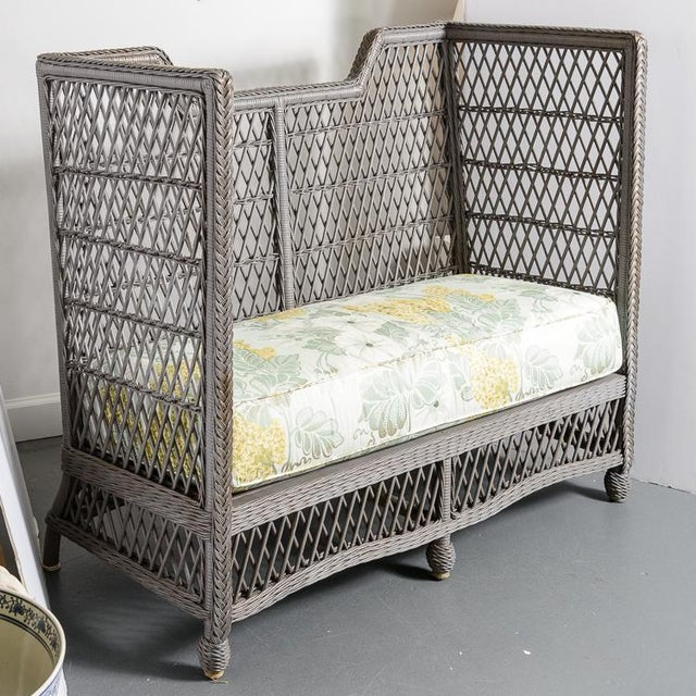 Charming Vintage High Back Wicker Loveseat or Settee in a Grey color. Very nice and clean upholstery. Great condition, no...