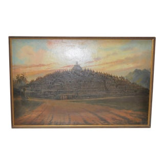 "1955 Mid-Century ""Borobudur Temple"" Central Java Painting by Frederik Kasenda (1921-1981) For Sale"