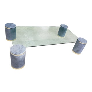 Karl Springer Died Goat Skin & Brass Coffee Table For Sale