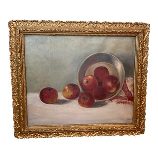 19th Century Still Life Painting of Apples, Framed For Sale