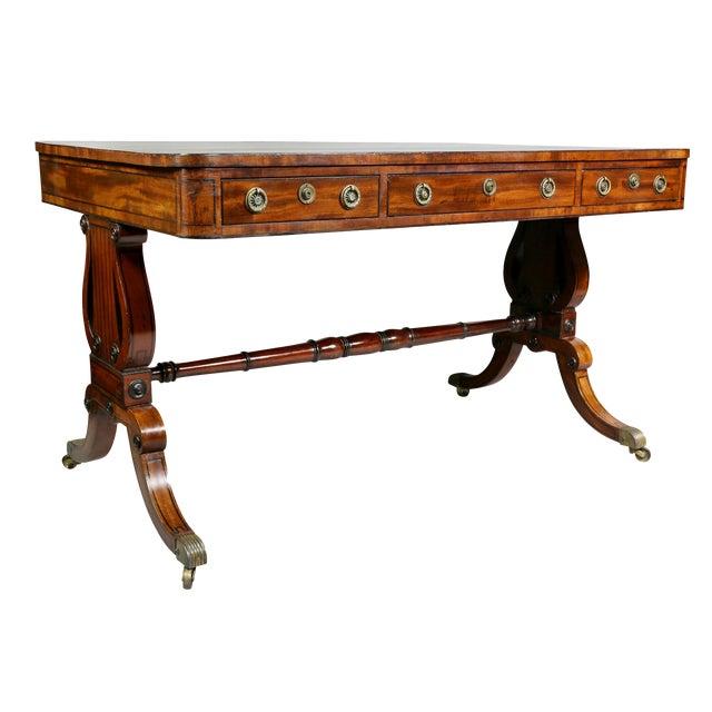 Fine Regency Mahogany and Ebony Inlaid Writing Table For Sale