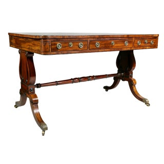 Regency Mahogany and Ebony Inlaid Writing Table For Sale