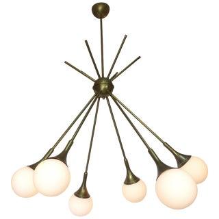 Mid-Century Modern Brass and Glass Sputnik Chandelier For Sale