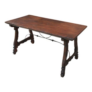 Antique French Spanish Colonial Early 19th Century Mission Catalan Farmhouse Dining Table Desk For Sale