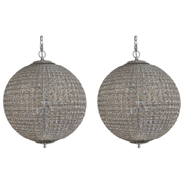 Aerin for Visual Comfort Crystal Renwick Pendants - A Pair For Sale