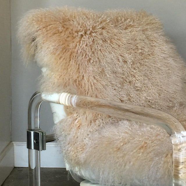 Welcoming Mongolian Lamb Lucite Armchair For Sale - Image 4 of 10