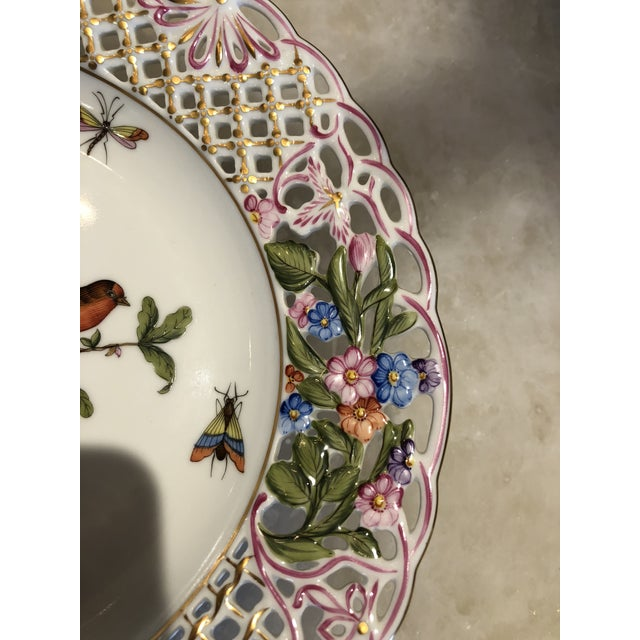 English Traditional Herend Hand Painted Porcelain Rothchild Bird Decorative Plate For Sale In Los Angeles - Image 6 of 12