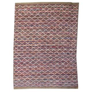 Moroccan Style Contemporary Multicolor and White Diamond Striped Shag Rug - 7′9″ × 11′8″ For Sale