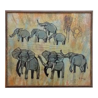 """Vintage Wall Art Batik Work """"Elephants"""""""