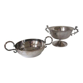 Silver-Plate Serving Bowls- 2 Pieces For Sale