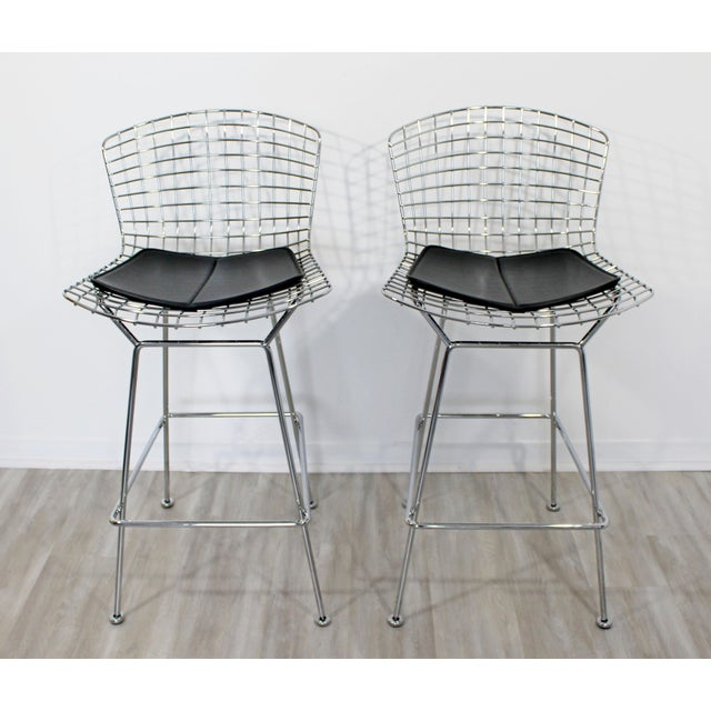 Black Modernist Chrome and Black Vinyl High Bar Stools by Bertoia for Knoll - a Pair For Sale - Image 8 of 8